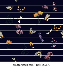 Vector Seamless Pattern Hand Drawn Artwork Isolated wild  Flowers and Insects with navy blue and white  Line on Stripes