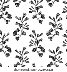 Vector seamless pattern with hand drawn Ginkgo biloba leaves. Ink drawing, graphic style, perfect for prints and patterns