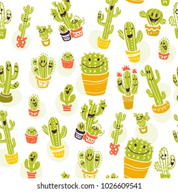 Vector seamless pattern with hand drawn cactus elements isolated on white background. Floral desert ornament, sketch, doodle style. Cacti icon. Perfect for cards, banners, packaging paper, prints etc.