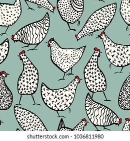 Vector seamless pattern with hand drawn chickens. Beautiful ink drawing, heavy contour, abstract design elements. Perfect elements for food or farming design.