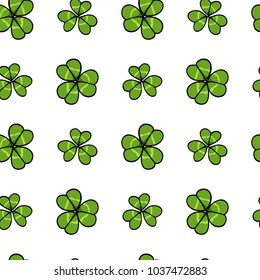 Vector seamless pattern with hand drawn clover leaves. Beautiful drawing, perfect for Saint Patrick's Day celebration