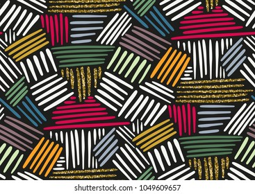 Vector seamless pattern with hand drawn gold glitter textured brush strokes and stripes hand painted. Black, gold, pink, yellow, green, beige colors.