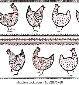 Vector seamless pattern with hand drawn chickens and ethnic elements. Beautiful ink drawing, heavy contour, abstract ethnic design elements. Perfect elements for food or farming design.