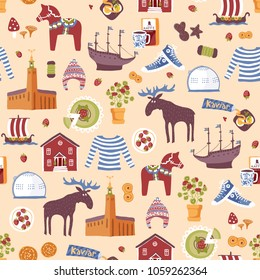 Vector seamless pattern with hand drawn art design elements of symbols of Sweden. Traditional swedish food, clothes and landmarks.