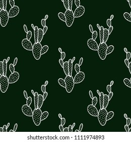 Vector seamless pattern with hand drawn cactus. Beautiful floral design elements, perfect for prints and patterns