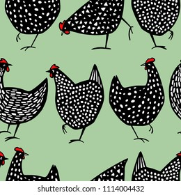 Vector seamless pattern with hand drawn speckled hens. Beautiful ink drawing, heavy contour, abstract design elements. Perfect elements for food or farming design.
