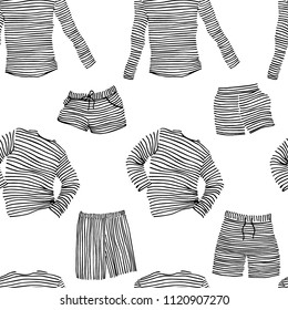 Vector seamless pattern with hand drawn striped loungewear. Ink drawing, beautiful casual fashion design elements