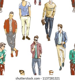 Vector seamless pattern of hand drawn fashionable men in modern casual style. Background for use in design, web site, packing, textile, fabric