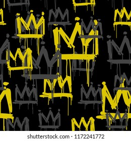 Vector seamless pattern of hand drawn grunge crown graffiti tags on black background. Vector hip hop endless doodle style hand drawn backgrownd