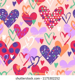 Vector seamless pattern with hand drawn hearts for Valentine day. Love background with doodle hearts, dots. Romantic hand drawn vector doodle Valentines day background. Colorful love texture with dots
