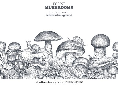 Vector seamless pattern with hand drawn forest mushrooms porcini, boletus, russula with fall leaves, snail, cranberry. Beautiful autumn endless illustration in sketch style for coloring book, textile