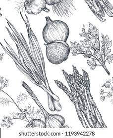 Vector seamless pattern with hand drawn vegetables in sketch style. Farm market products. Beetroot, cabbage, broccoli, cauliflower, lettuce, chinese cabbage. Detailed vegetarian food drawing.