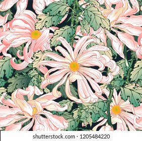 Vector seamless pattern of hand drawn bright pink and white chrysanthemums with green leaves in Japanese graphic style.