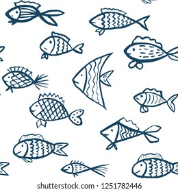 Vector seamless pattern with hand drawn fishes. Blue fishes upon white background. Creative ornament for covers, backgrounds, textile and interior decoration
