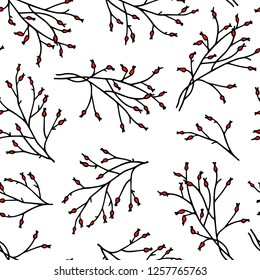 Vector seamless pattern with hand drawn barberry twigs. Ink drawing, graphic style, beautiful Christmas and New Year design element