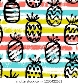 Vector seamless pattern, hand drawn pineapples and decorative paint stripes on a white background.