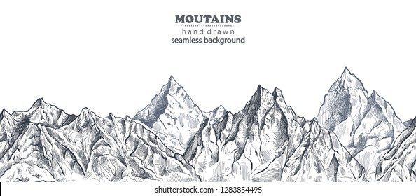 Vector seamless pattern with hand drawn graphic mountain ranges. Nature landscape. Black and white outdoor camping background.