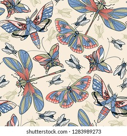 vector seamless pattern with hand drawn colored butterflies and dragonflies