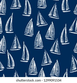 Vector seamless pattern with hand drawn sailing ships. Hand drawn with chalk sailing boats. Beautiful design elements, perfect for nursery.