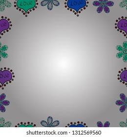 Vector. Seamless pattern. Hand drawn vector border frame doodles.