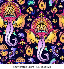Vector seamless pattern of hand drawn Hindu God Ganesha and Indian symbols isolated on blue background. Beautiful Ornament of Ganesh. Bright festive Vector illustration.