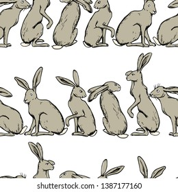Vector seamless pattern with hand drawn cute hares made with ink. Perfect design elements, beautiful animal illustration