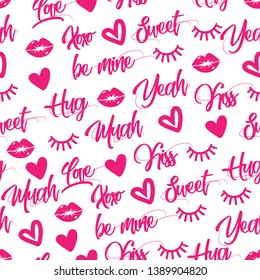 Vector seamless pattern with hand drawn words: XOXO, hearts, lips, sweet, be mine, yeah, love, hug. Colorful print for wedding invitation,poster,card,fabric,etc.