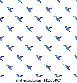 Vector seamless pattern with hand drawn colibri.