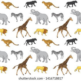 Vector seamless pattern of hand drawn doodle sketch african animals isolated on white background
