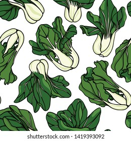 Vector seamless pattern with hand drawn Asian green Dwarf Bok Choy. Ink drawing, beautiful vegetarian design elements.