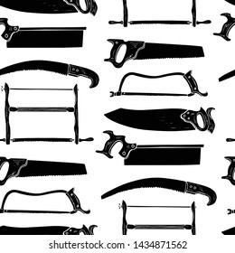 Vector seamless pattern with hand drawn handsaws used by carpenters. Beautiful design elements, ink drawing. Perfect for any industry related to the woodworking.