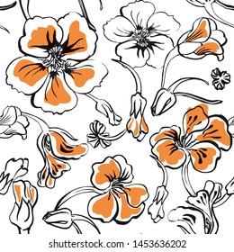 Vector seamless pattern with hand drawn flowers, stems, pods and buds of nasturtium plant. Bold colorful hawaii style.