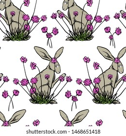 Vector seamless pattern with hand drawn cute hares smelling pink flowers made with ink. Perfect design elements, beautiful animal illustration