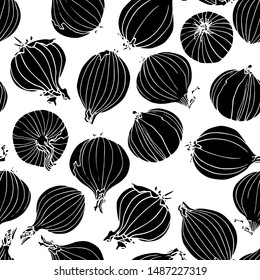 Vector seamless pattern with hand drawn onion bulbs. Beautiful food design elements, ink drawing, linocut style. Perfect for prints and patterns
