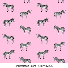 Vector seamless pattern of hand drawn sketch zebra unicorn isolated on pink background
