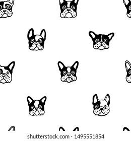Vector seamless pattern with hand drawn cute French bulldogs. Ink drawing, graphic style, heavy contour. Beautiful animal design elements, perfect for prints and patterns