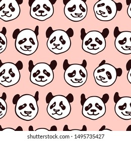 Vector seamless pattern with hand drawn cute Panda's heads. Ink drawing, graphic style, heavy contour. Beautiful animal design elements, perfect for prints and patterns