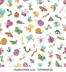 Vector seamless pattern with hand drawn flat funny insects. Cute repeat background with bugs. Sweet creepy-crawly ornament for children's design, print