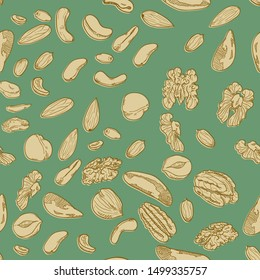 Vector Seamless Pattern of Hand Drawn Different Nuts on Green Background