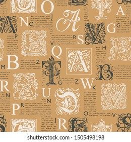 Vector seamless pattern with hand drawn alphabet letters on the background of magazine or newspaper pages. Unreadable text and initial letters. Suitable for wallpaper, wrapping paper, textile, fabric