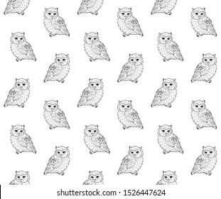 Vector seamless pattern of hand drawn sketch owl isolated on white background