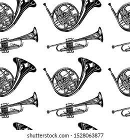 Vector seamless pattern with hand drawn brass family instruments. Beautiful ink drawing of tuba, trumpet, trombone and french horn.