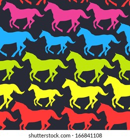 Vector seamless pattern with hand drawn silhouette rainbow horses. Bright background