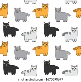 Vector seamless pattern of hand drawn doodle sketch different colored cats isolated on white background