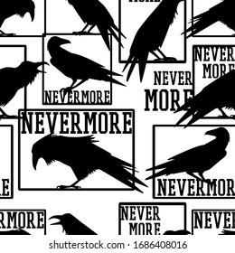 Vector seamless pattern with hand drawn silhouettes of ravens and Nevermore word referring Edgar Allan Poe's poem. Ink drawing. Beautiful design elements, perfect for prints and patterns
