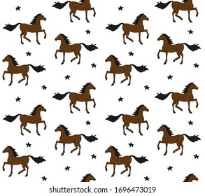 Vector seamless pattern of hand drawn doodle sketch bay brown horse isolated on white background
