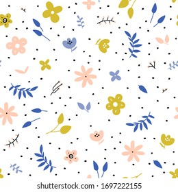Vector seamless pattern with hand drawn leaves and small abstract flowers on a white background. Print for bed linens, fabric, textiles, wallpaper, wrapping paper