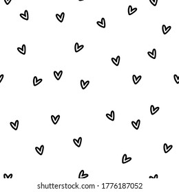 Vector seamless pattern with hand drawn hearts. Cute design for fabric, wrapping, wallpaper for Valentine's Day