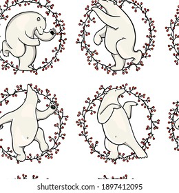 Vector seamless pattern with hand drawn cute polar bears dancing in floral red berries wreath. Beautiful ink drawing, animal design elements. Perfect for prints and patterns