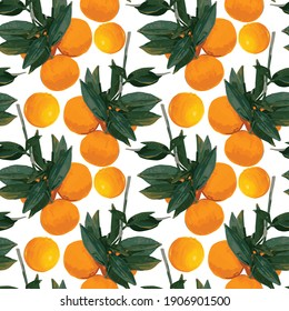 Vector seamless pattern with hand drawn mandarins, tangerines,  clementines branch with citrus fruits and leaves in art markers style